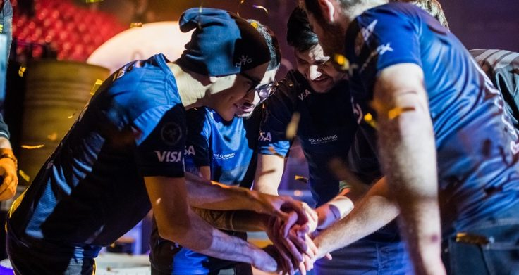 KHTB34 SAINT PETERSBURG, RUSSIA - OCTOBER 29 2017: EPICENTER Counter Strike: Global Offensive cyber sport event. Brazilian winner team SK Gaming celebrates after the grand final match staying together.